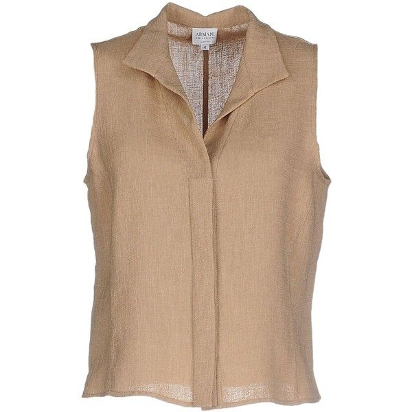 Armani Collezioni Shirt (3.320 NOK) ❤ liked on Polyvore featuring tops, camel, sleeveless tops, sleeve less shirts, beige shirt, sleeveless shirts and camel shirt