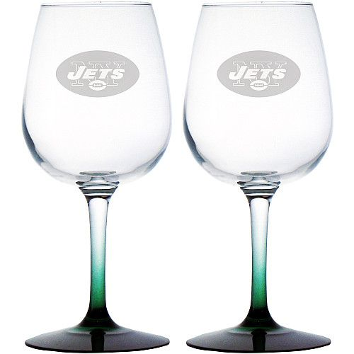 Boelter New York Jets NFL 12 oz Clear Wine Glasses Set of 2