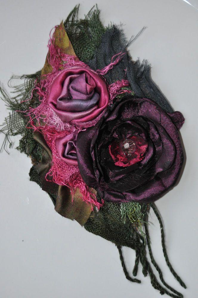 HAND DYED REAL SILK dress pin brooch pin purple 14 cm wedding corsage handmade l