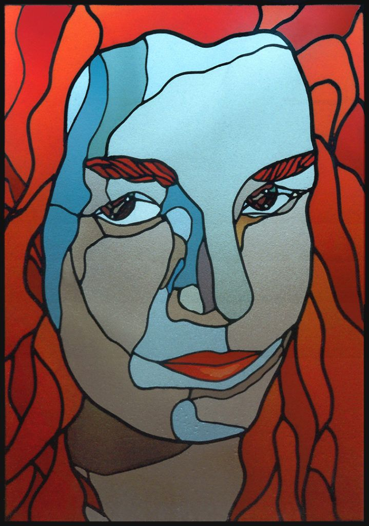 Portrait of Marta (Stained Glass)  Retrato de Marta (Vidriera) マーサの肖像(ステンドグラス) 1990 88 x 62 cm. (34,6 x 24,4 inch) German glass Lamberts Glas (red and brown) Glass French Saint Just (blue and green) hydrofluoric acid lowered to 50% (lower lip) Belgian lead three thick Curb copper and tin-plated (Only in the eyes) Tin with 10% silver solder. perimeter welded iron rods reinforcement.