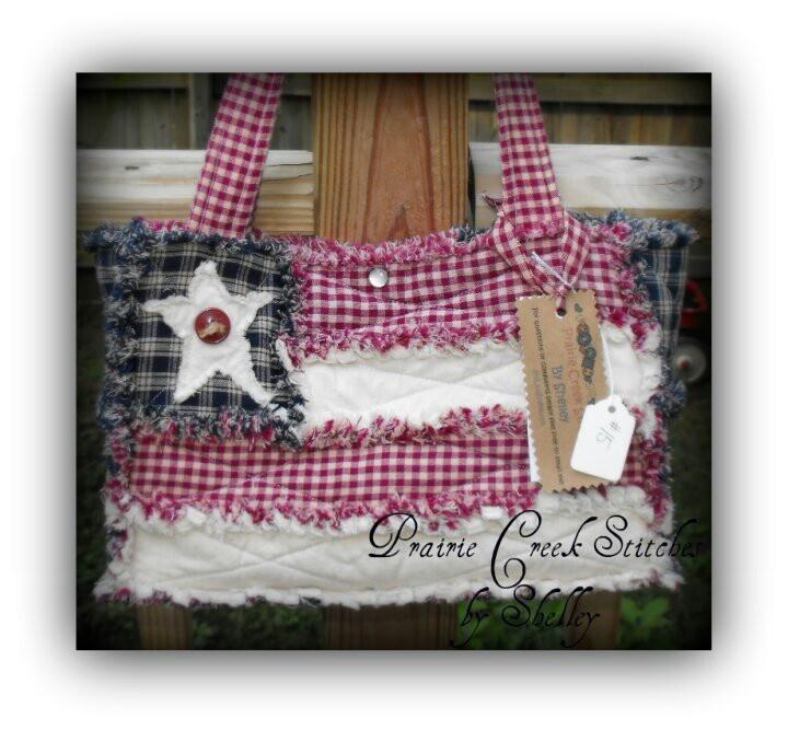 Americana rag quilt purse