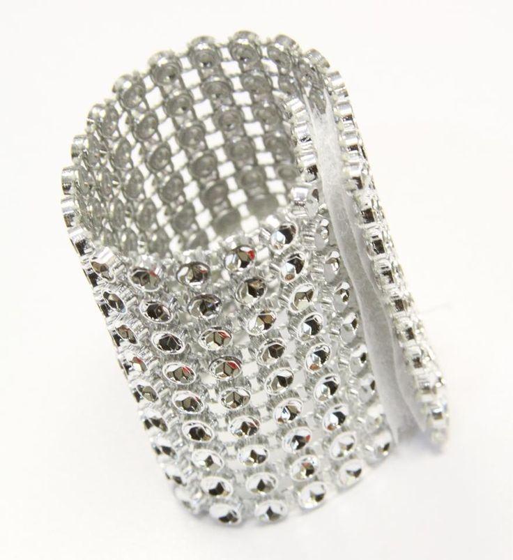Bling Lot Of 100 Rhinestone Velcro Napkin Ring Clip Ceremony Decoration