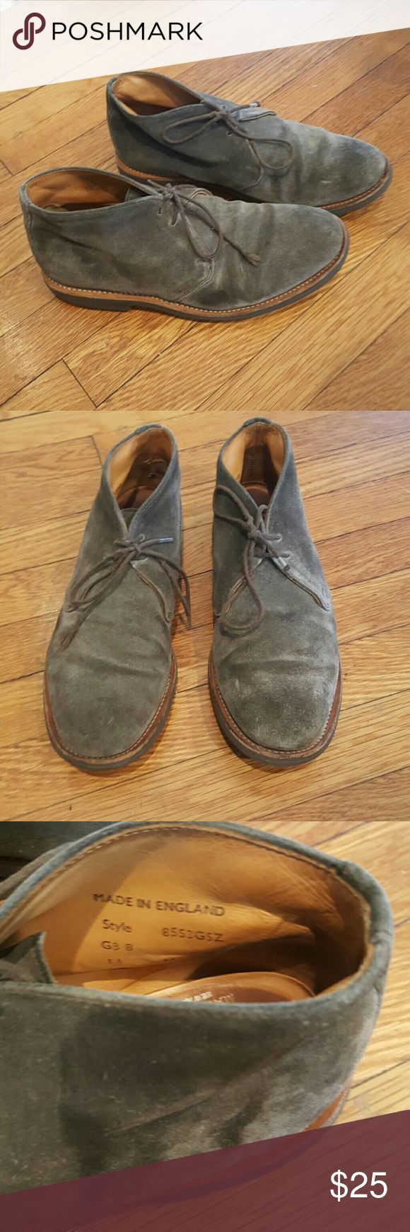 MARK MCNAIRY MADE IN ENGLAND GREY CHUKKAS MARK MCNAIRY MADE IN ENGLAND GREY SUEDE CHUKKA BOOTS ANKLE LACE UP BOOTS DRESS SHOES US 9 GOOD USED CONDITION WEAR TO SHOELACE AND ALITTLE TO HEELS LOTS OF LIFE LEFT Brooks Brothers Shoes Chukka Boots