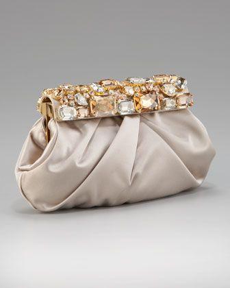 Raso Ricamo Flat Clutch Bag, Black by Prada at Neiman Marcus ...