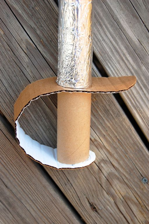 Cardboard Sword   and wrapped the blade in aluminum foil.