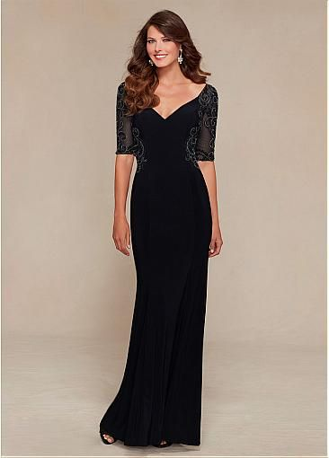 Amazing Chiffon V-neck Floor-length Mother of the Bride Dresses with Exquisite Rhinestones