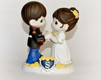 Marine Wedding Cake Toppers | Hand-painted Marine Cake Topper wit h Custom Hair (Precious Moments ...