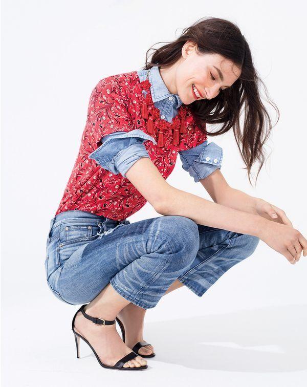 J.Crew women's vintage cotton T-shirt in bandana print, always chambray shirt, Point Sur Stevie X-rocker jean in Kirkby wash, honeymoon tassel necklace and high-heel ankle-strap sandals.