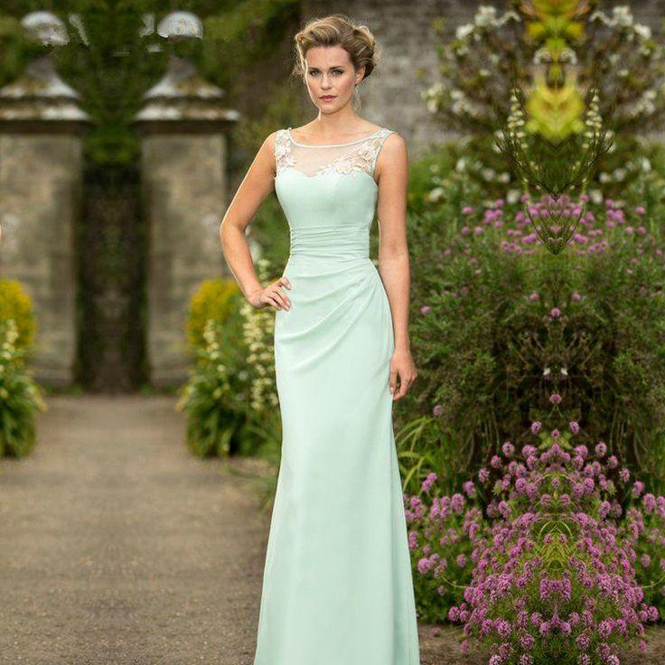 Bridesmaid Dresses 2017 Mint Green Chiffon Lace Mermaid Sheer Elegant Pleats Corset Cheap Long Prom Gowns For Wedding