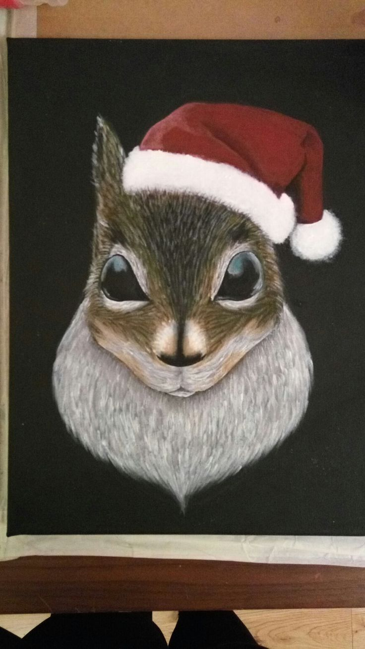 Christmassy squirrel.  squirrel with hat.