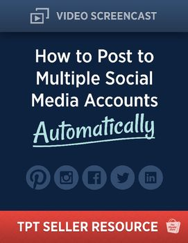TPT Seller Resources: How to Post to Multiple Social Media Accounts Automatically.  Are you spending lots of time posting your TPT products to each and every social media platform that youre signed up for?  Don't you wish that there was a way to share your uploaded TPT products across ALL the social media platforms you participate in automatically?