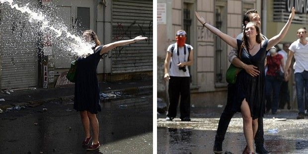Water is not coming from a friend making joke. That is police. Turkish police.