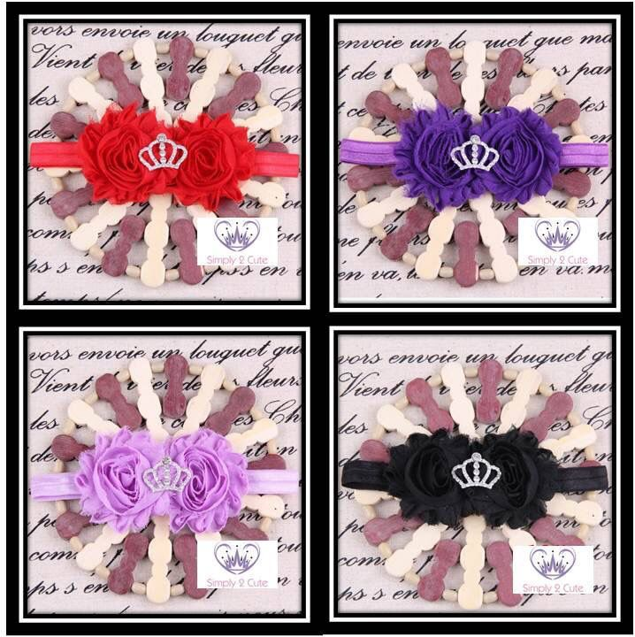 'MARY' - shabby chic hairband with rhinestone tiara. Available in several colours.  #shabbychic #rhinestonebling #princesstoptotoe http://simply2cute.tictail.com/product/mary
