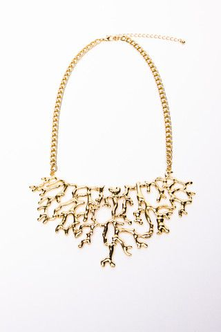 Gilded Coral Bib Necklace | a-thread Repinned by Aline