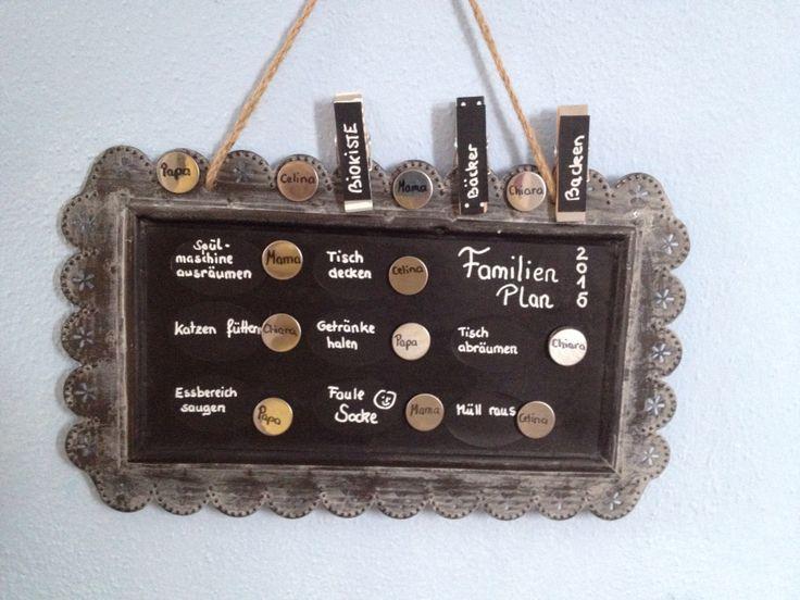 Job Liste Vintage Organisation   Vintage Tablett beklebt mit Tafelfolie, beschriftet mit einem Kreidestift... Klammer für die wechselnden Jobs (diese Sucht sich jeder 1x wöchentlich freiwillig aus) und die festen Jobs im Wechsel (die bestimmen dann die Eltern) ....