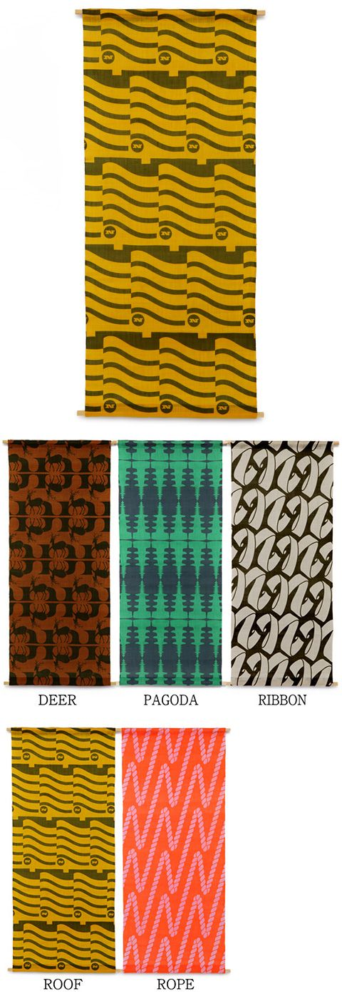 【タペストリー House Industries(中川政七商店)】/アメリカのフォントデザイン会社であるHouse Industriesが、日本にインスピレーションを受け生み出したテキスタイル。手績み手織り麻に、京都で手捺染で柄を染めたタペストリーです。麻生地の一面に染められたテキスタイルは、インテリアのアクセントに。和モダンな雰囲気は、洋室にも、和室にも、お部屋を問わずお飾りいただけます。 #houseindustries