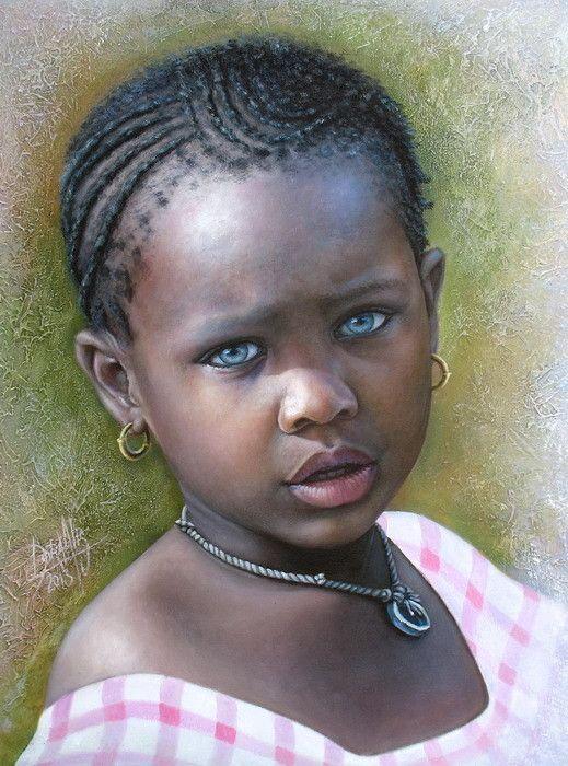 """Colección: Retratos de la Inocencia """"Niña de África"""" (2013) - Óleo sobre lienzo…"""