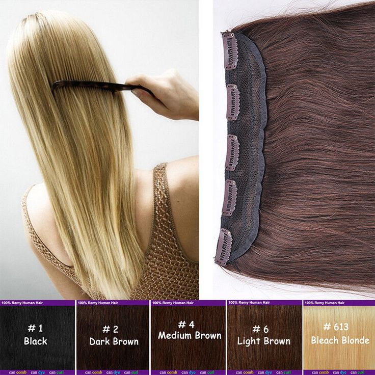 Clip in 100% Remy Human Hair Extensions One Piece Black Brown Blonde Wedding US