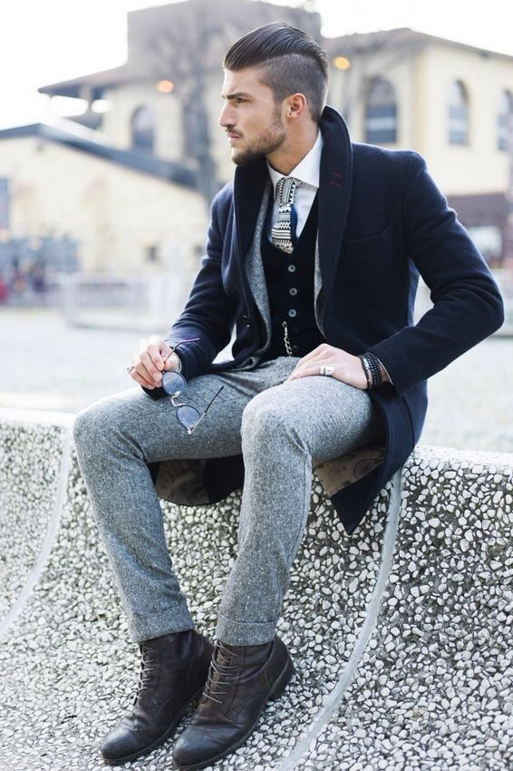 Men's Style- grey pants and black jacket