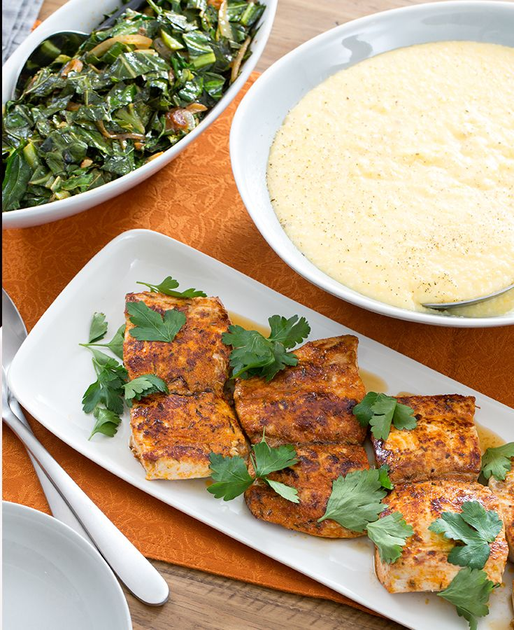 Blackened cajun drum with collard greens cheddar grits for Drum fish recipes