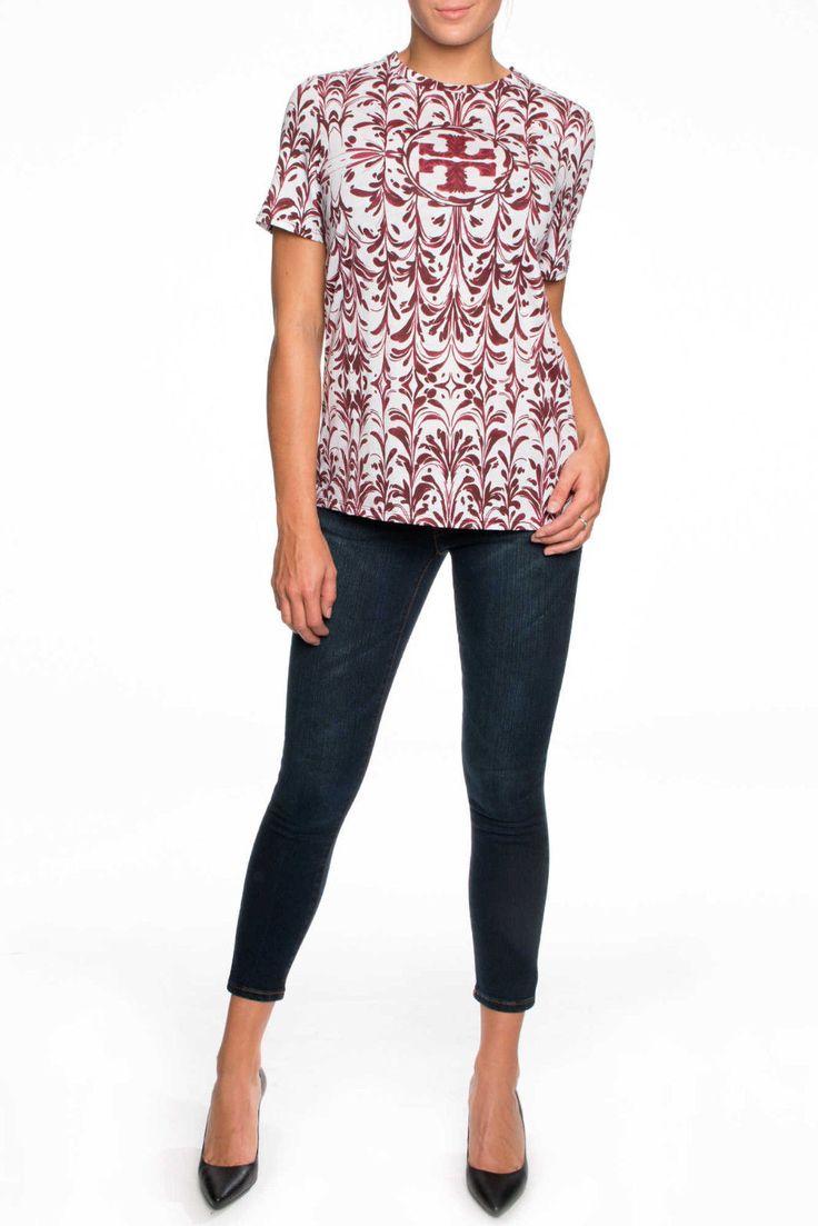 Z Tory Burch Logo Tee RED AGATE SYMPHONY Cotton Short Sleeve T Shirt NWT M