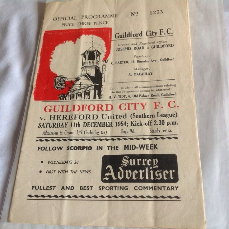 Guildford city v Hereford United 1954 football programme