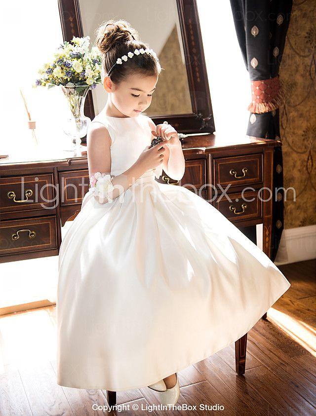 Lanting Bride Trapèze / Princesse Longueur Genou Robe de Demoiselle d'Honneur Fille - Satin Sans Manches Bijoux avec Noeud(s) / Ruché de 2016 ? $59.99