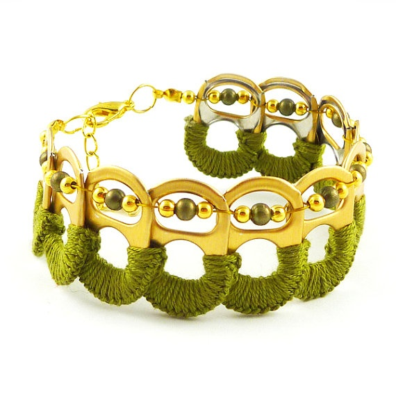 Recycled pop top bracelet olive and gold by Scradeus on Etsy, $20.00
