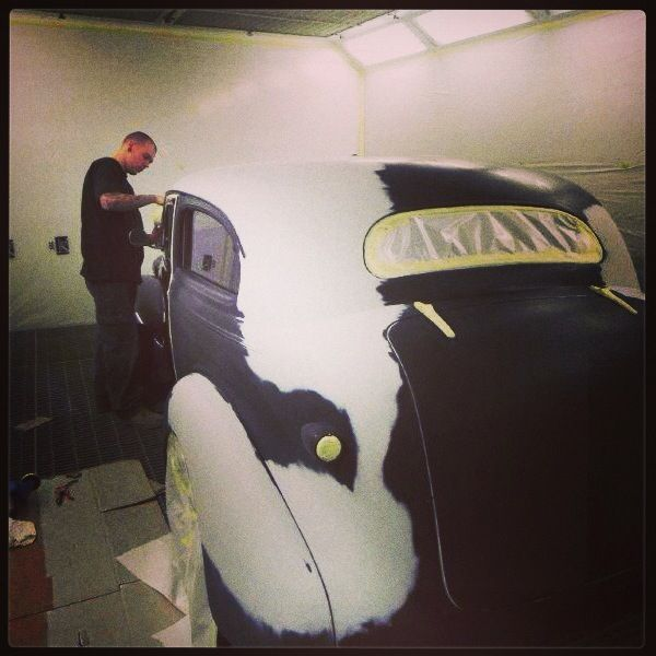 1939 Chev in the spray booth