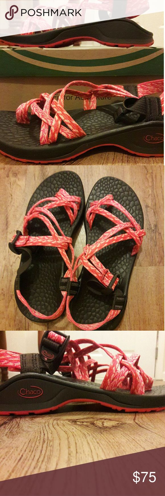 SALE!! Chacos Size 8 👣 Super cute Chacos size 8 regular width. Worn once for about an hour! Still in New condition as can see from bottoms. Just not my size as i had hoped! Excellent condition. The bottoms are brown and the straps are orange. A must have for summer 🌞 Chacos Shoes Sandals