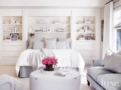 Grey Bedskirt and Pillows, white bedding