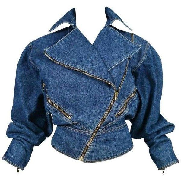Alaia Denim Zipper Jacket 1986 (3.175 BRL) ❤ liked on Polyvore featuring outerwear, jackets, crop top, denim, zippered denim jacket, vintage jackets, vintage jean jacket, alaïa and blue jackets
