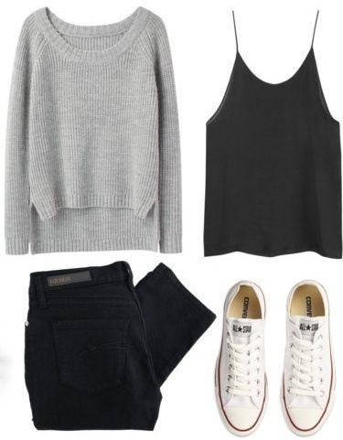 Outfit: black jeans + black cami + grey sweater + white sneakers