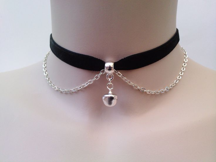 Mini Silver Plated JINGLE BELL With Chain BLACK by TwirlyTrinkets, £3.99