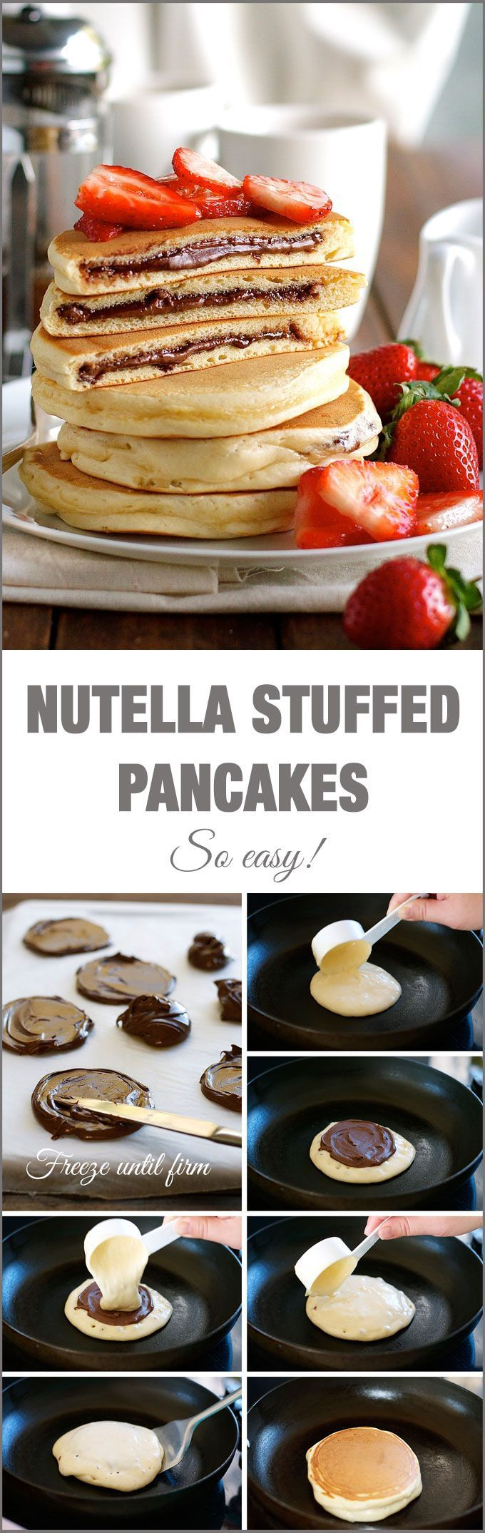 Panquecas rellenas de Nutella o lo que quieras (mermelada, mantequilla de mani, dulce de leche, cream cheese, etc) Nutella Stuffed Pancakes: frozen Nutella discs makes it a breeze to make the Nutella stuffed pancakes! Can also use jam, cream cheese, peanut butter, etc. Just freeze into small circles.