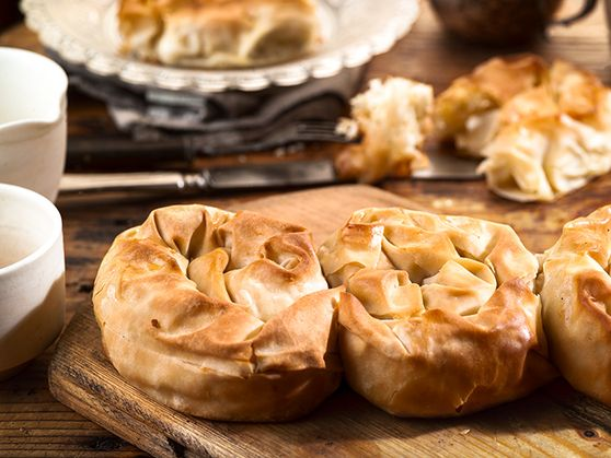 Twisted tyropita (feta cheese pie)