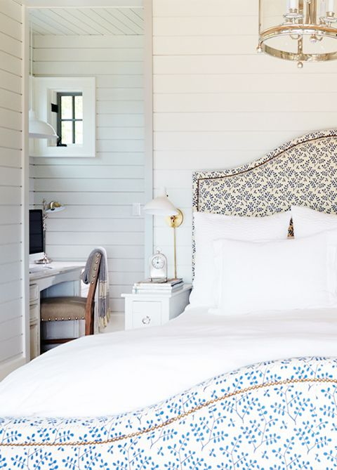 Love this bed. | Great blue and mostly white bedroom