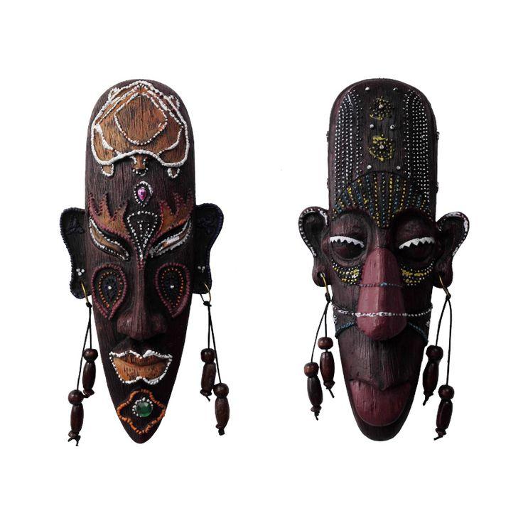 Урожай Африканского висит декоративные маски смола ремесла творческий дом гостиная/бар украшения стены мягкие подвесные украшения купить на AliExpress