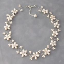 Intricate White Pearl Flower Link Necklace (3-10 mm) (Thailand)  Great for bridesmaids!