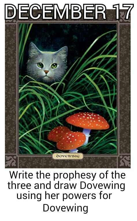 December 17 write the prophecy of the Three and draw Dovewing using her powers for Dovewing.