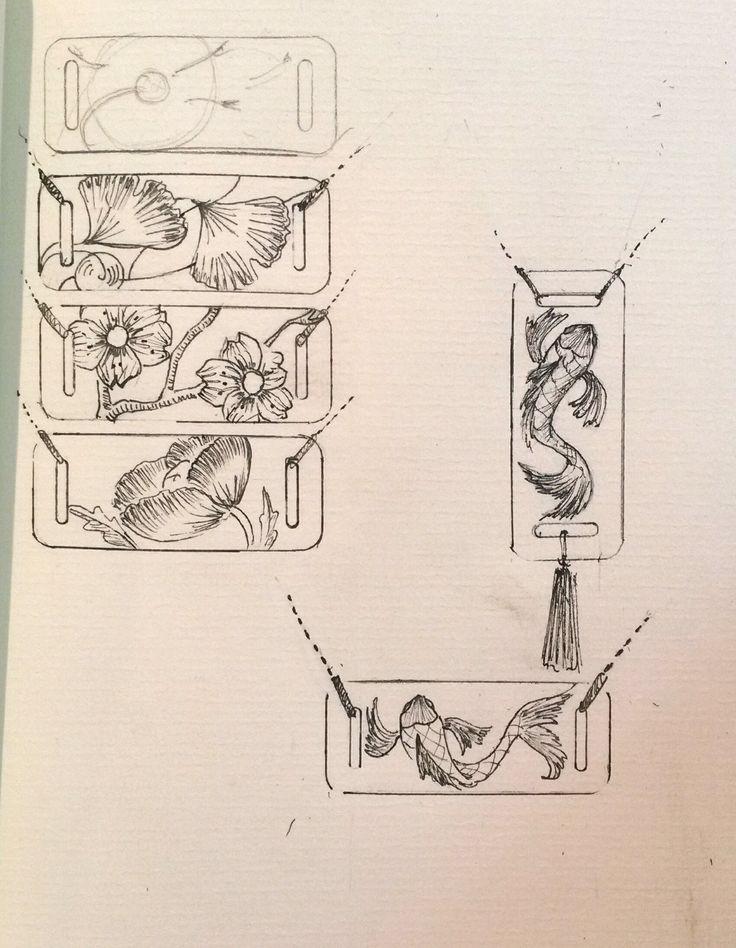 Esquisses de pendentifs en forme de rectangles présentant différents thèmes.