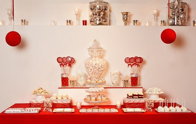 PERFECTLY designed dessert table.  Red candy buffets look so dramatic - man, they make a statement!  This would be perfect for a holiday party...
