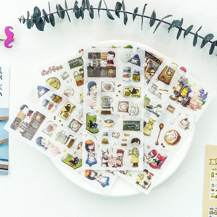 Find More Stationery Sticker Information about 6 pcs/pack Relax Have Coffee Time Stickers Diary Sticker Scrapbook Decoration PVC Stationery Stickers,High Quality pcs,China pcs stickers Suppliers from house of novelty Store on Aliexpress.com