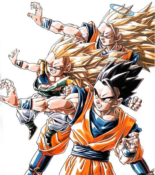 Super Saiyan 3 Goku, Gotenks, and ultimate Gohan