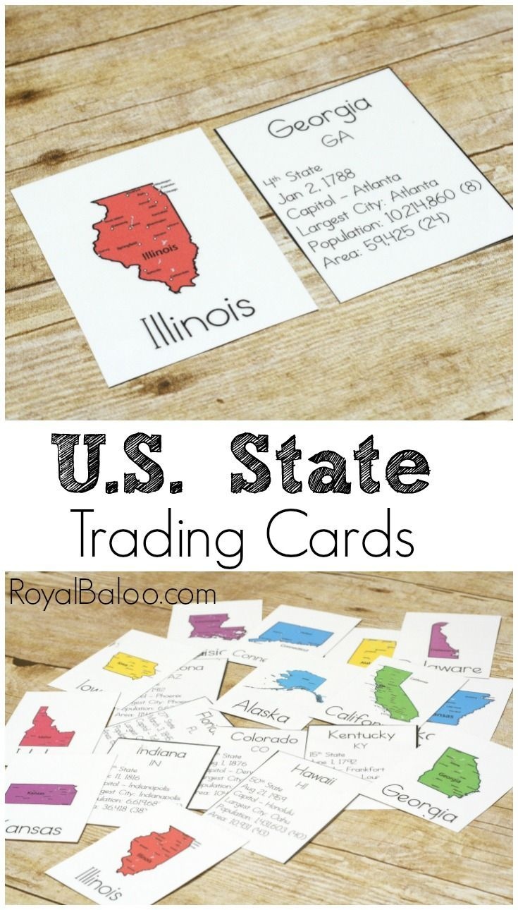 Learning USA Geography? These State Trading Cards will make it fun and exciting! Facts on the states and more!