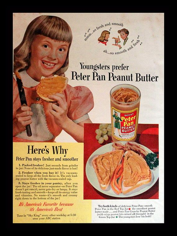 1950 Peter Pan Peanut Butter Ad  Little Girl with Bangs