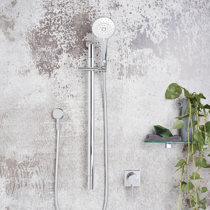 Dorf Enigma Rail Shower #dorf #dorfstyle #interior #bathroom #inspiration #decor #urban #industrialvibes #texture #indoorplants #greenery #shower  http://www.dorf.com.au/products/showers/showers-styles/showers-on-rails