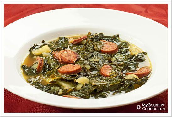 Portuguese: Portuguese Kale Soup (Caldo Verde) recipe. Traditional dish.