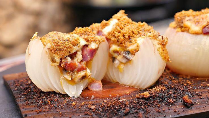 STUFFED & PLANKED ONION  - on the Napoleon! Side Dish Recipe #napoleongrill #onion #bbq  #sidedish