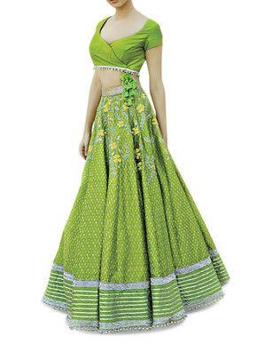 Divya Reddy Green Lehenga Set | Divya Reddy | BYELORA.COM